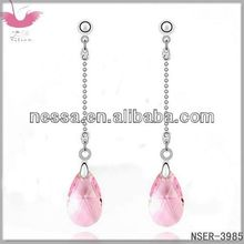 E85415 Imported crystal ear - bright star (light red)