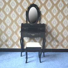 Modern dressing table with mirror / make-up table with mirror and stool/Black Wooden Dresser