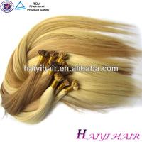 100% grey natural virgin indian hemp for hair i tip hair Flat In Hair