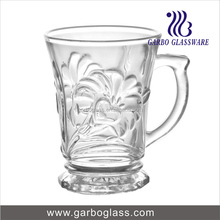 Drinking glass cup with handle,glass coffee mug, glass juice mug with morning flower