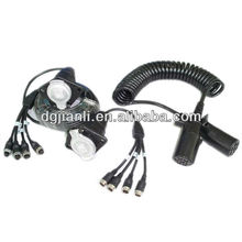 7pin Trailer Truck diagnostic cable for 4 backup cameras