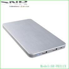 High Capacity Ultra-slim Polymer Lithium Battery Power Bank 20000mah With Led Power Indicator
