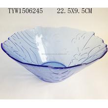 hand made flower shaped glass salad bowl,dark blue glass bowl