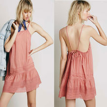 Cotton lace panel sun dress for woman, short beach dress fashion