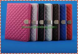 Newest Grid Lambskin Diamond Stand Pu Leather Case For IPad Mini