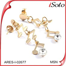 Jewelry for lady gold filled musical notes cheap fancy earring designer
