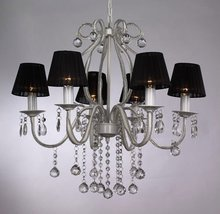 Big Luxury Crystal modern chandelier 6 light with black fabric Lampshade with GS,CE(NS-120060)