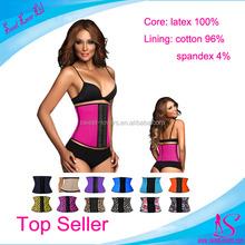 Women's Faja perfect latex waist trainer cincher steel boned corset latex 3 hook waist trainer