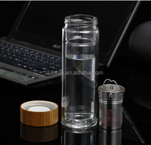 Eco friendly Pyrex Material Bamboo Cap Double wall Borosilicate glass Tea infuser Glass Water Bottle with strainer