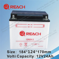 China Long Life Rechargeable Motorcycle Battery 12V 24Ah Factory Price
