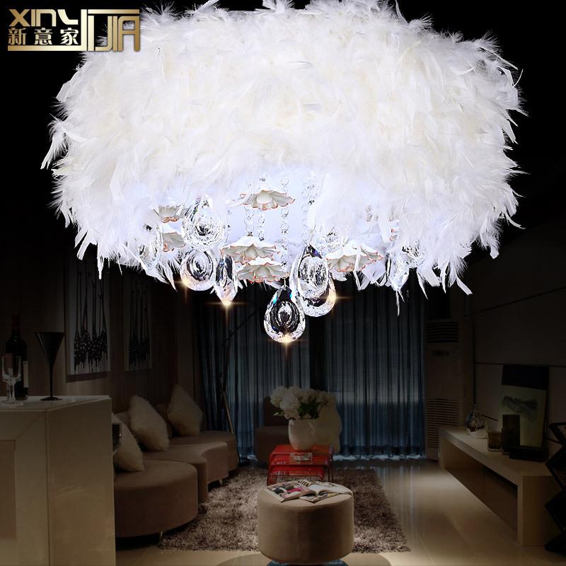 cristal de mariage romantique plume led lustre plafonnier 6869 salon. Black Bedroom Furniture Sets. Home Design Ideas