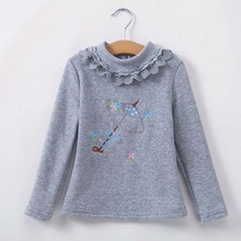 ca50006 long sleeve high collar printed fleece thick children tshirts