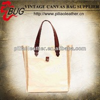 Custom printing canvas tote shopping bag with vegetable leather trim