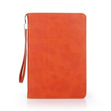 PU flip cover protective tablet case for iPad mini with hand strap