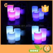 3 x Flameless Real Wax Automatic Color Changing Candles Unscented LED Mood Light