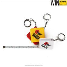 Promotional custom shaped innovative metal keychain retractable with mini steel tape measure