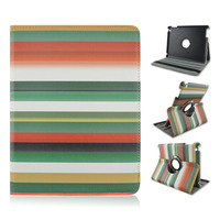 Bright Colorful Stripes Rainbow Rotate Flip PU Leather Case With Elastic Belt For Apple iPad 2 3 4, ipad air, ipad mini