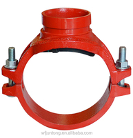 UL FM CE approval ductile iron grooved pipe fitting and couplings threaded/grooved/U BOLT mechanical tee grooved threaded outlet