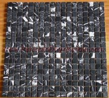 BLACK ZEBRA MARBLE MOSAIC TILES/Marble mosaic mural, tile round mosaic medallion floor patterns
