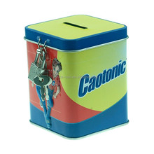 Square Kids tin can money box promotional gift