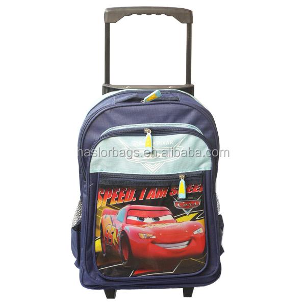 2014 moins cher forme de voiture de sac d'école de chariot