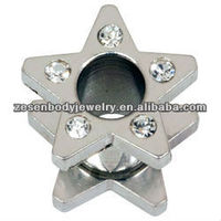 316L steel flesh ear plug tunnel star shaped body piercing jewelry