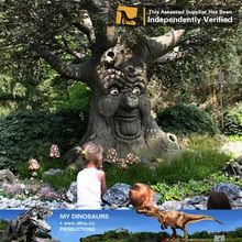 Mi- dino de animación decorativos hablando de la sabiduría del árbol