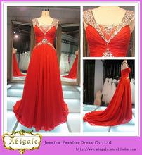 Mejor venta de la longitud del piso v- cuello de gasa de color rojo de cristal de swarovski vestido de noche fotos reales
