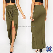 wholesale long maxi skirt high fashion womens clothing thigh split knit jersey plain maxi skirt