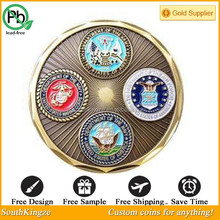 Enamel round department of navy, air, forces military challenge coin hot sale