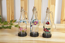 solar glass bottle light with painting color changing led wine bottle light