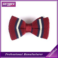 Wholesale various designs silk/polyester cheap knitted bow tie for men