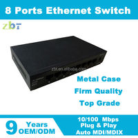 Metal case 8 port network switch