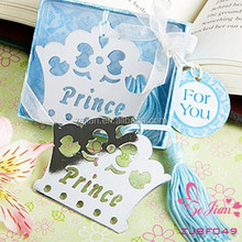 """""""Prince"""" Silver-Finish Bookmark Crown Bookmark Wedding Baby Shower Party Favors Gifts"""