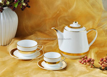 2015 New Hotel Luxury porcelain coffee cup & Saucer set with gold band for wholesale for Mid-East Market
