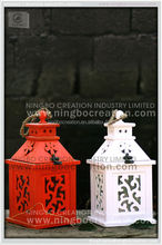 Christmas powder coating top open home decorative wooden lantern