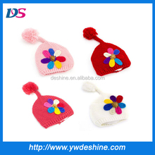 wholesale colorful flowers knitted baby hats MZ873