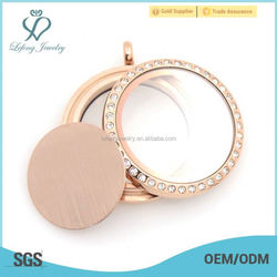 Wholesale 22mm emboss stailess steel rose gold floating glass memory charms blank locket plates in stock