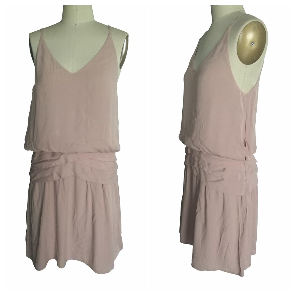 Enerji tasarrufu seksi spagetti askı backless yaz kapalı omuz krep elbise