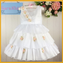 Popular selling style children fancy dress white color baby girl party dress