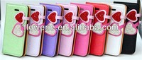 FL289 hot selling two heart-shaped diamond leather case for iphone 5s