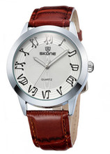 SKONE 9148 Brown Leather Band White Dial Music cheap custom logo watches