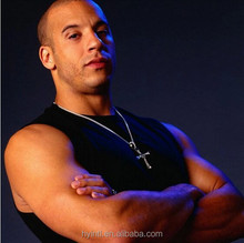 Furious 7 Dominic Toretto necklace cross pendant 100% 925 sterling silver plating Platinum inlay cz high quality allergy free