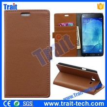 Wholesale Brown Lichee Pattern Wallet Magnetic Flip Leather Case for Samsung Galaxy J7 ,No MOQ, Paypal accepted