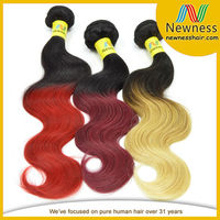 Wholesale Price Unprocessed Hair Weft Ombre Color Indian Remy Hair Extensions