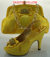 italian fashion matching YELLOW shoes and bags newest trend handbag for lady SA50704-5 heel hight 12cm square heel