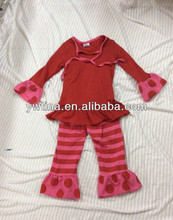 2014Hot Sale!baby Lovely clothing sets baby Girls Cotton Top And Stripes Pants Baby Girls Ruffle Pants Sets Infant Girls Outfits