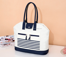 pvc canvas coated bag/leather canvas large tote bag