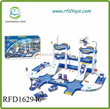 Children play set toy railway park with 3 cars and 1 plane parking lot rail car