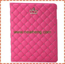 Bling Rhinestone Crown Tablet Leather Flip Case For iPad air 2